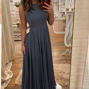 Blue Chiffon Full Length Spaghetti Strap Dress